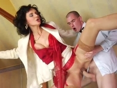 Nylons older, red shoes anal and spunk fountain