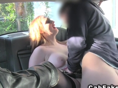 Natural busty redhead bbw in fake taxi